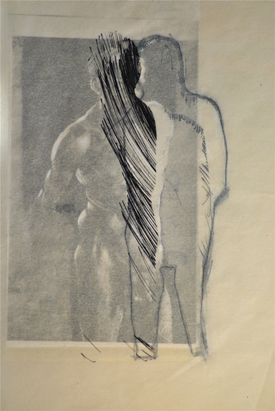 """Cos Ahmet """"Untitled Self' (After Durer) 2011, Graphite, pencil, ink and collage on paper"""